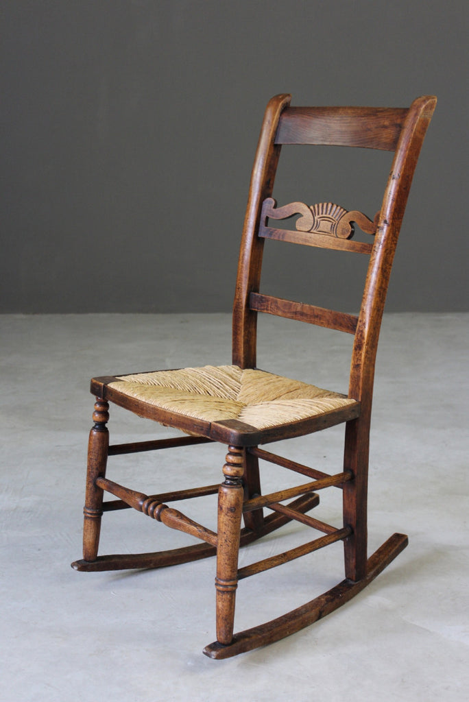 Beech & Rush Rocking Chair - vintage retro and antique furniture