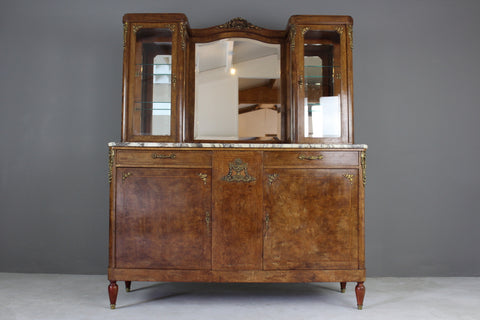 Antique French Burr Walnut & Marble Vitrine - vintage retro and antique furniture