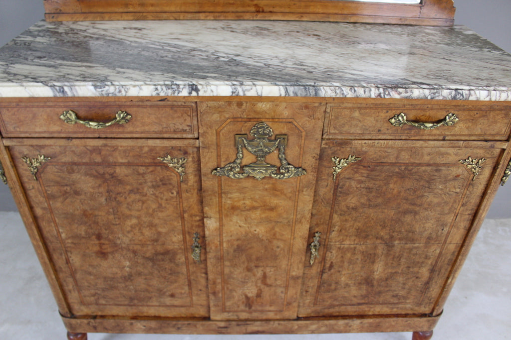 Antique French Burr Walnut & Marble Sideboard - Kernow Furniture