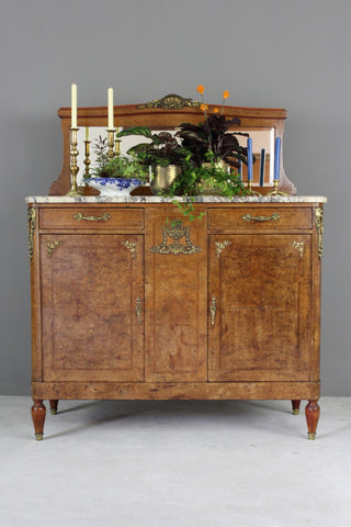 Antique French Burr Walnut & Marble Sideboard - vintage retro and antique furniture