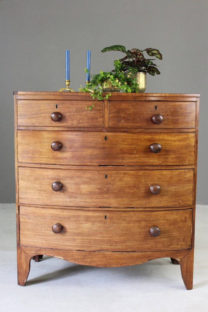Victorian Bow Front Chest of Drawers - Kernow Furniture