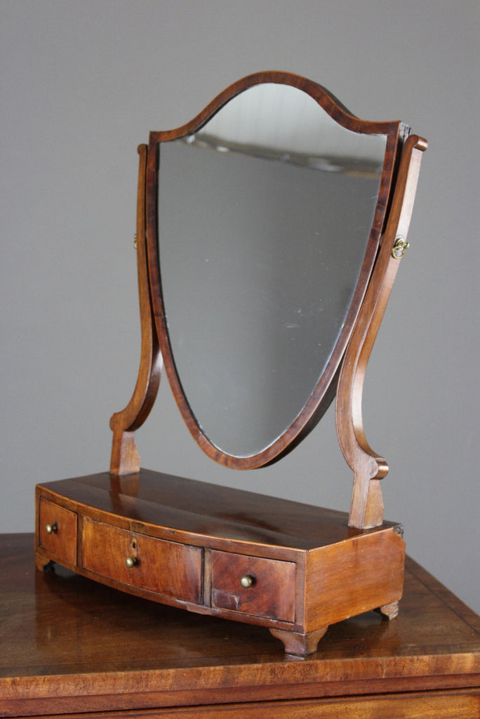 Antique Mahogany Shield Swing Toilet Mirror - vintage retro and antique furniture