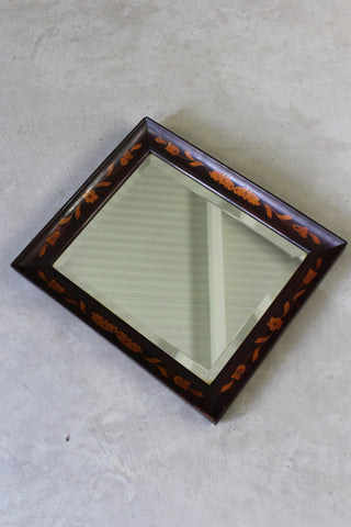 Antique Dutch Marquetry Inlaid Floral Rectangular Wall Mirror