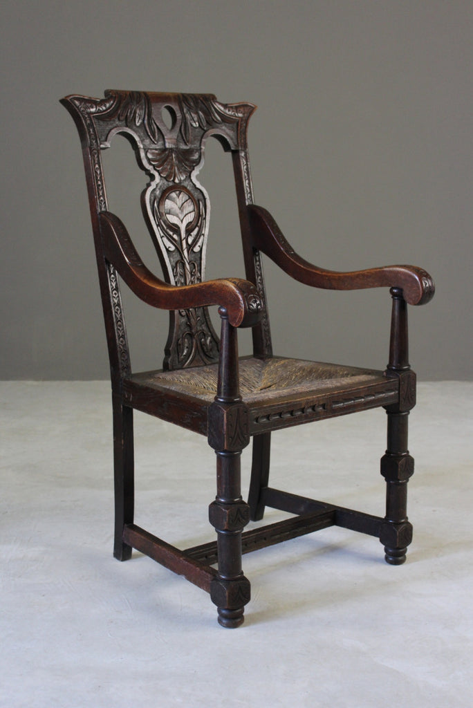 Rustic Victorian Oak Carver Chair - Kernow Furniture