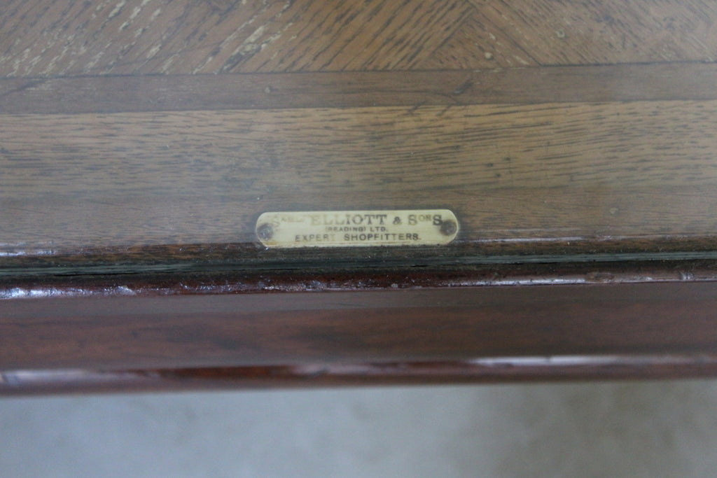 Antique Brass Bound Glazed Haberdashery Shop Counter - Kernow Furniture