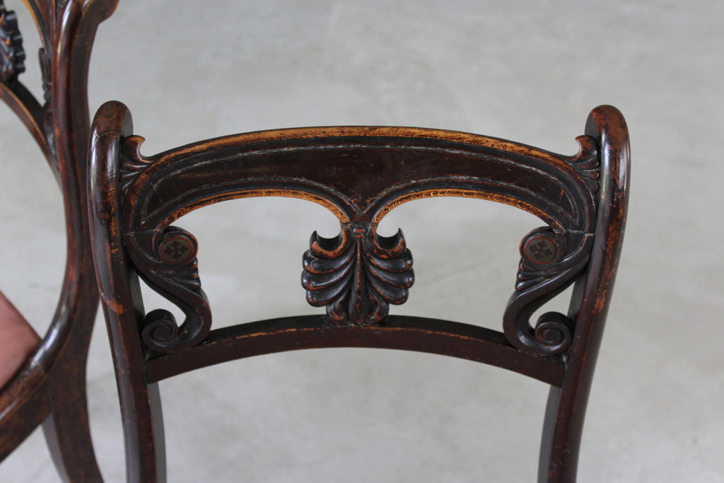 Pair Simulated Rosewood Dining Chairs - Kernow Furniture