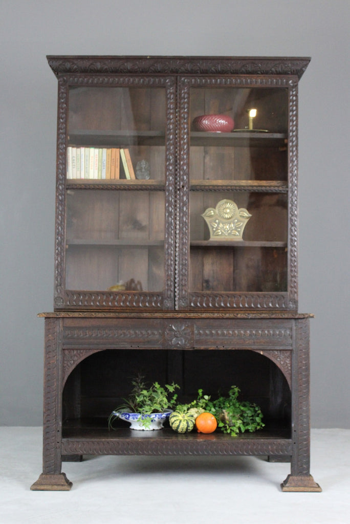 Victorian Carved Dark Oak Glazed Bookcase - Kernow Furniture