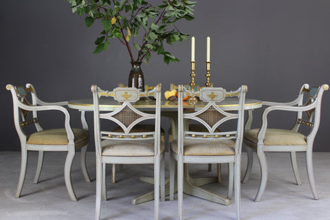 Regency Style Painted Dining Table & 6 Chairs