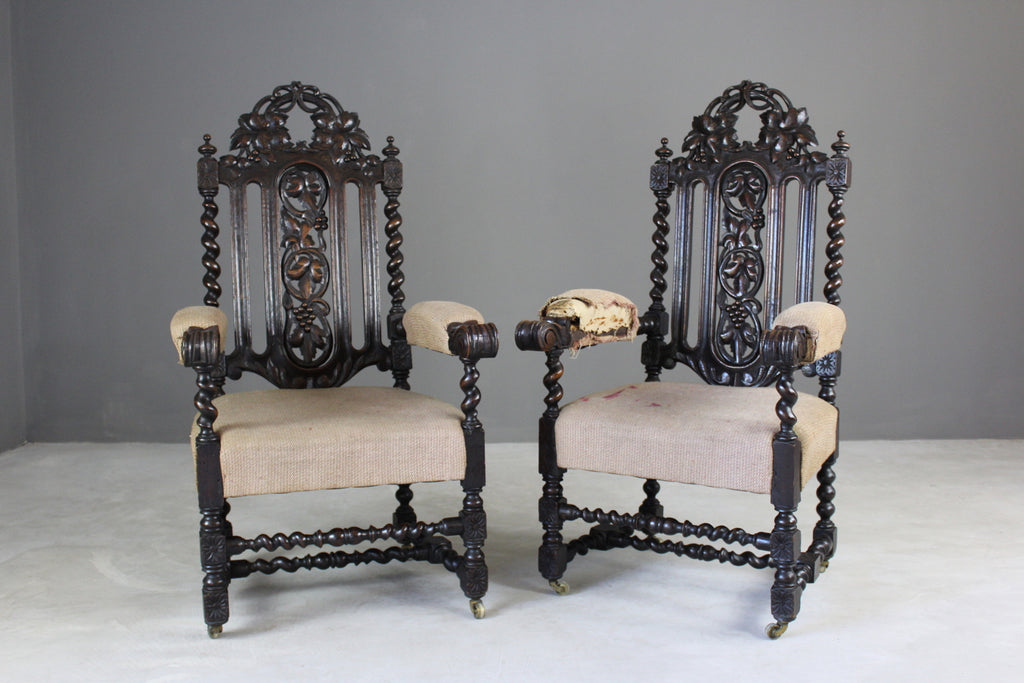 Pair Victorian Carved Oak Throne Chairs