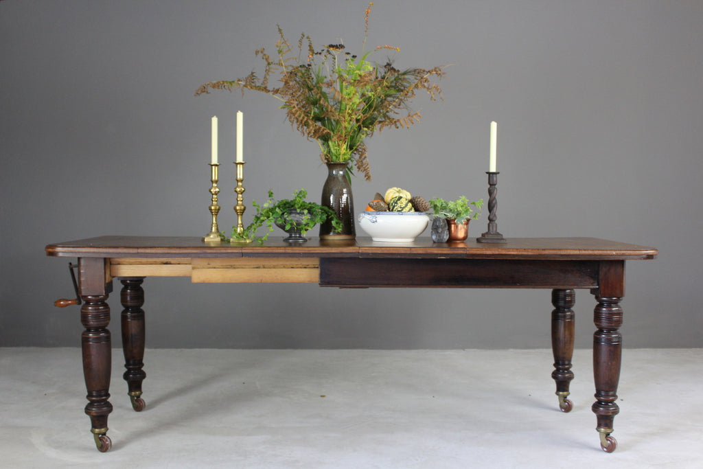 Antique Oak Extending Dining Table - vintage retro and antique furniture