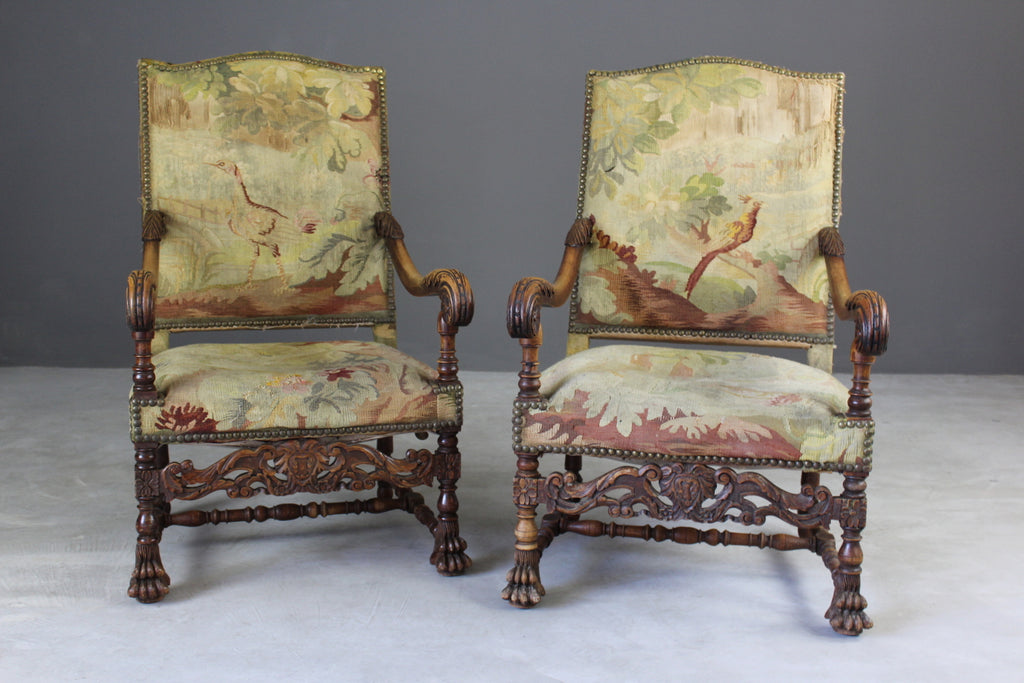 Pair French Carved Oak Throne Chairs - Kernow Furniture