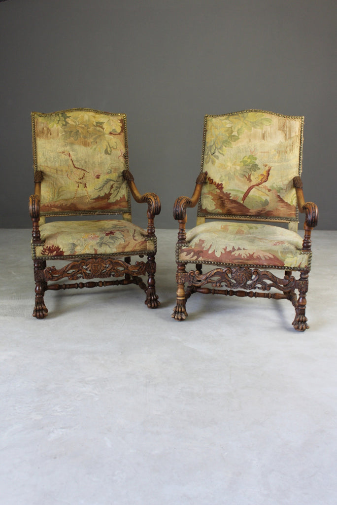 Pair French Carved Oak Throne Chairs
