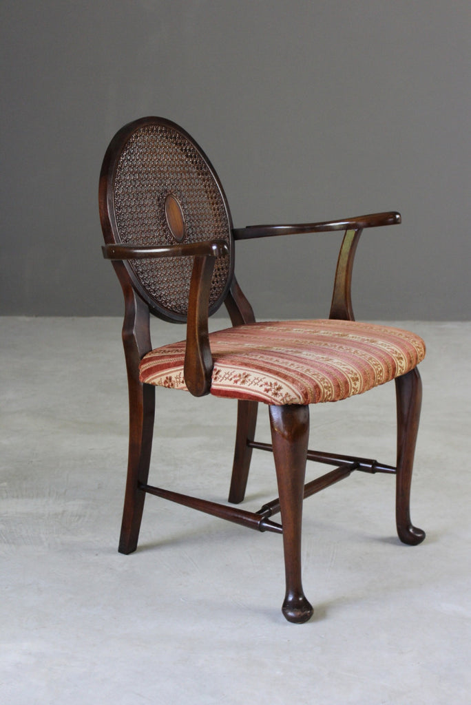 Antique Study Cane Back Chair - Kernow Furniture