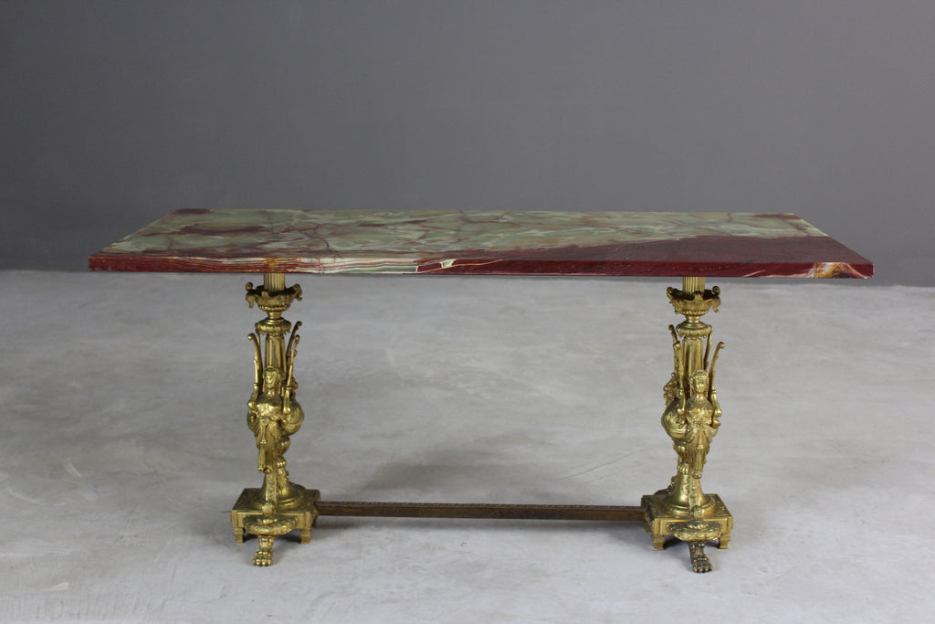 Marble Green Onyx & Brass Coffee Table - Kernow Furniture