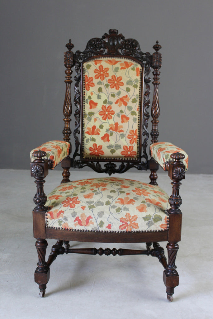 Victorian Carved Throne Chair