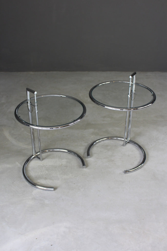 Pair Eileen Gray Inspired Chrome & Glass Tables - Kernow Furniture