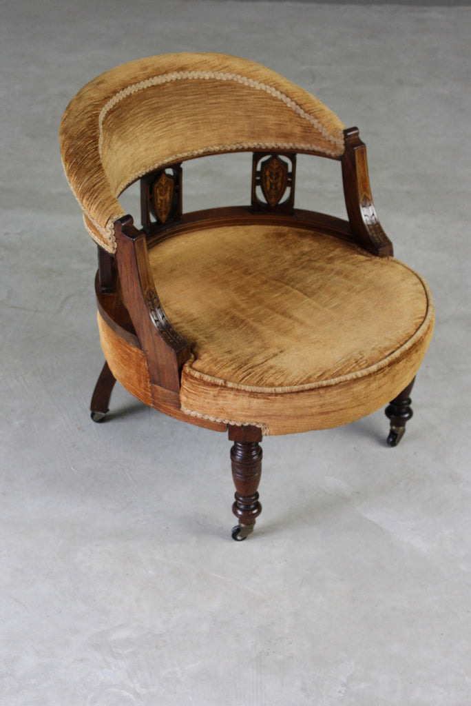 Victorian Inlaid Rosewood Tub Chair - Kernow Furniture