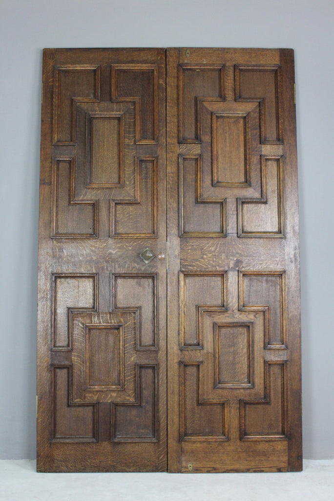 Pair Oak Geometric Doors