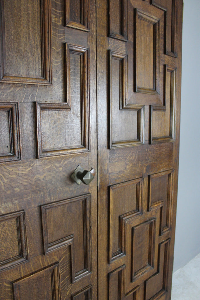Pair Oak Geometric Doors - Kernow Furniture