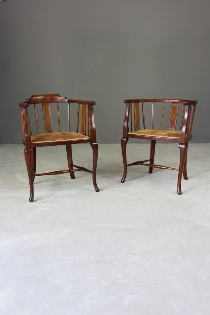 Pair Edwardian Tub Chairs