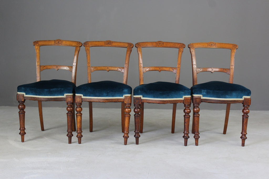 4 Victorian Oak Dining Chairs - vintage retro and antique furniture