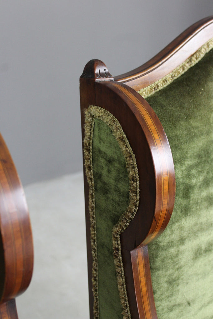 Pair Late Victorian Mahogany Armchairs - Kernow Furniture