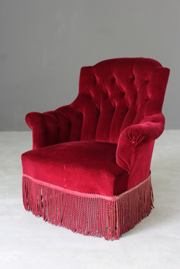 Red Upholstered Buttoned Armchair - Kernow Furniture