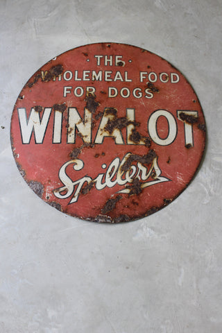 Vintage Winalot Enamel Sign - Kernow Furniture