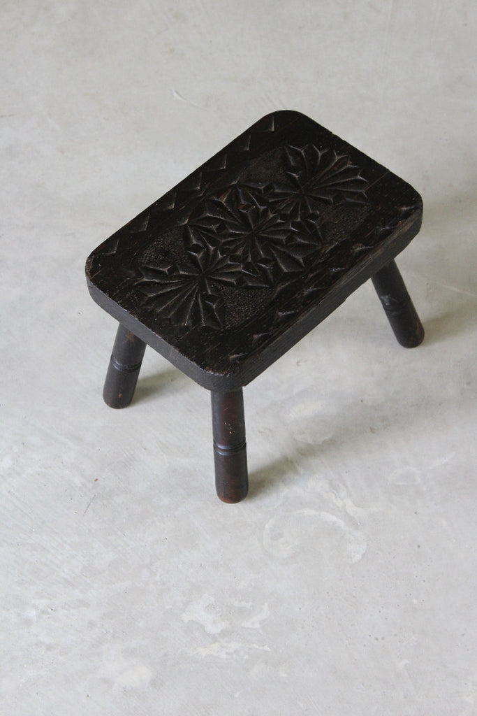 Small Carved Antique Stool