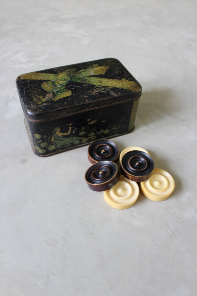 Vintage Lucite Checkers In Tin