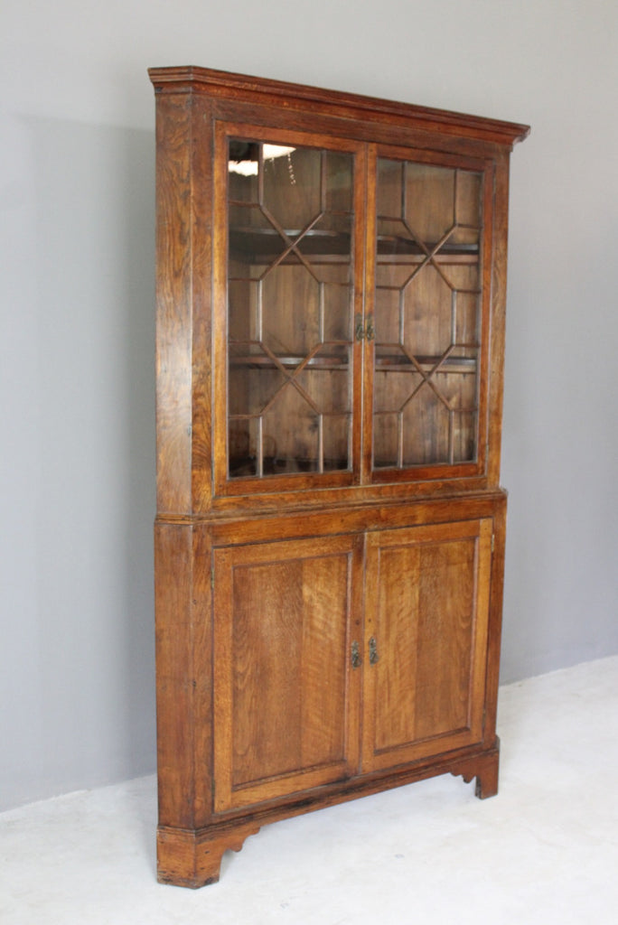 Antique Oak Astragal Glazed Corner Cabinet - Kernow Furniture
