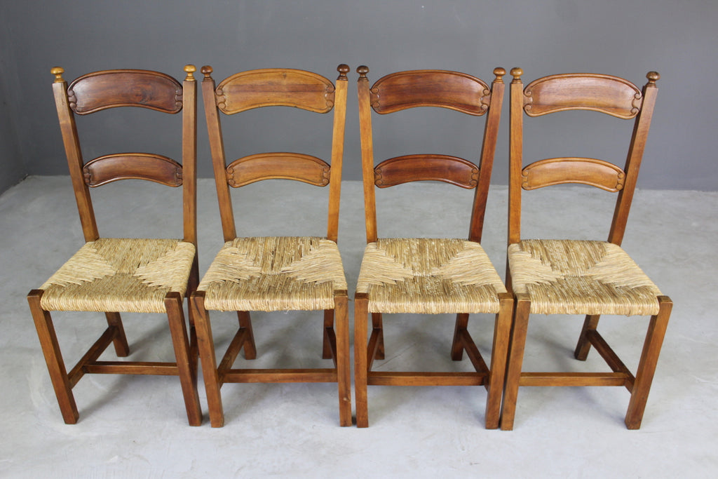 4 Rustic Rush Dining Chairs - Kernow Furniture