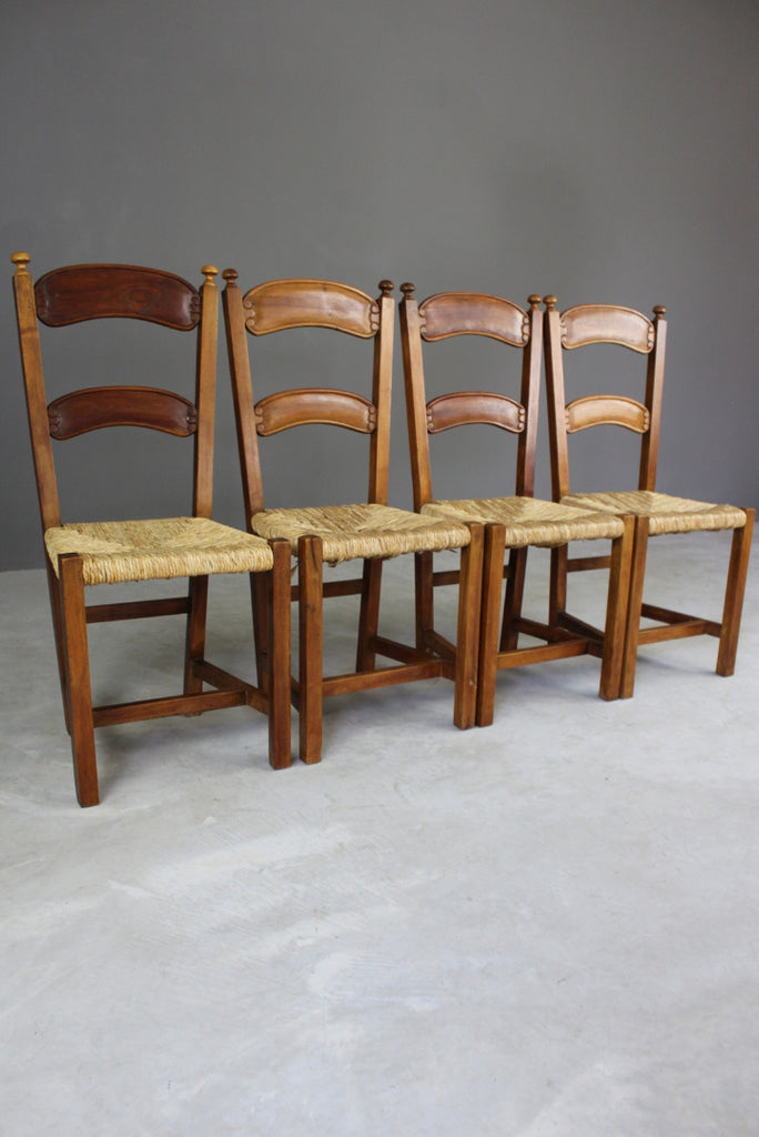 4 Rustic Rush Dining Chairs - vintage retro and antique furniture