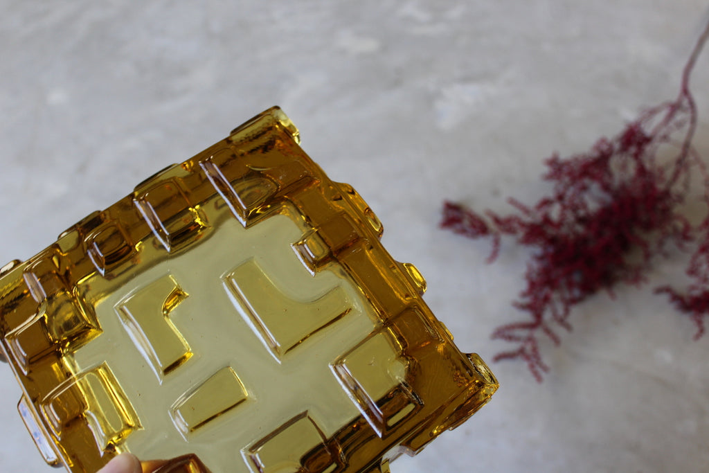 Amber Czech Glass Dish - Kernow Furniture