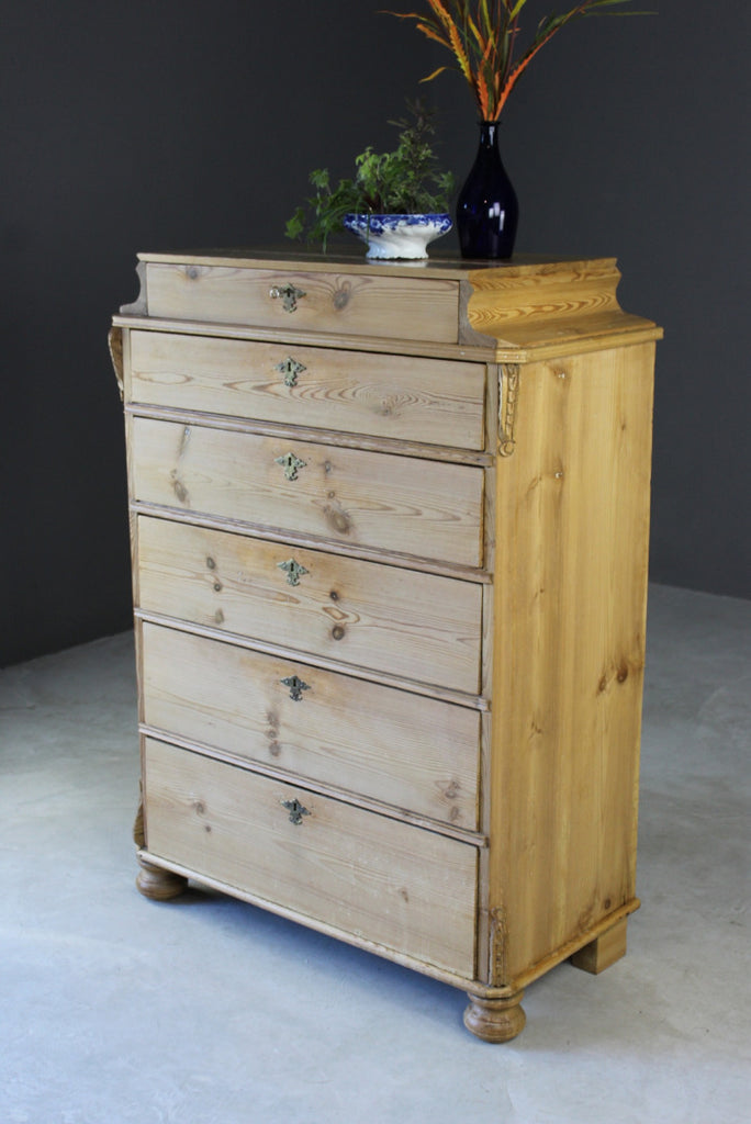 Antique Continental Pine Chest of Dawers - vintage retro and antique furniture