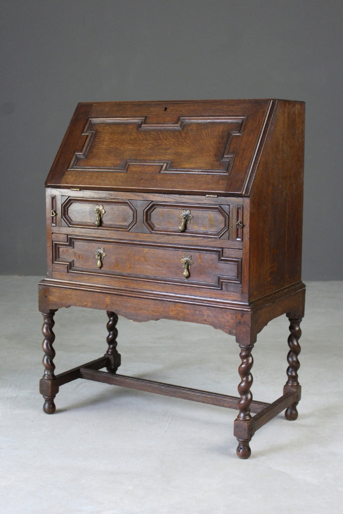 Oak Jacobean Style Bureau - Kernow Furniture