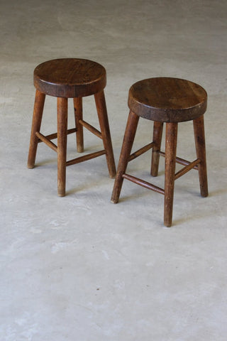 Pair Rustic Small Pine Stools