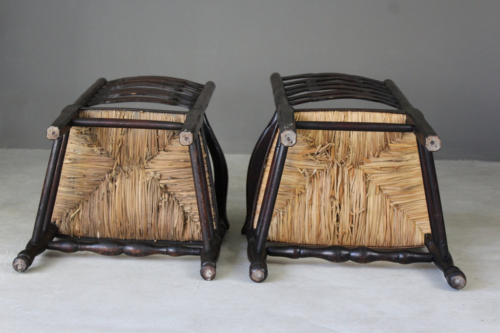 Pair Antique Elm Ladderback Carver Chairs - Kernow Furniture