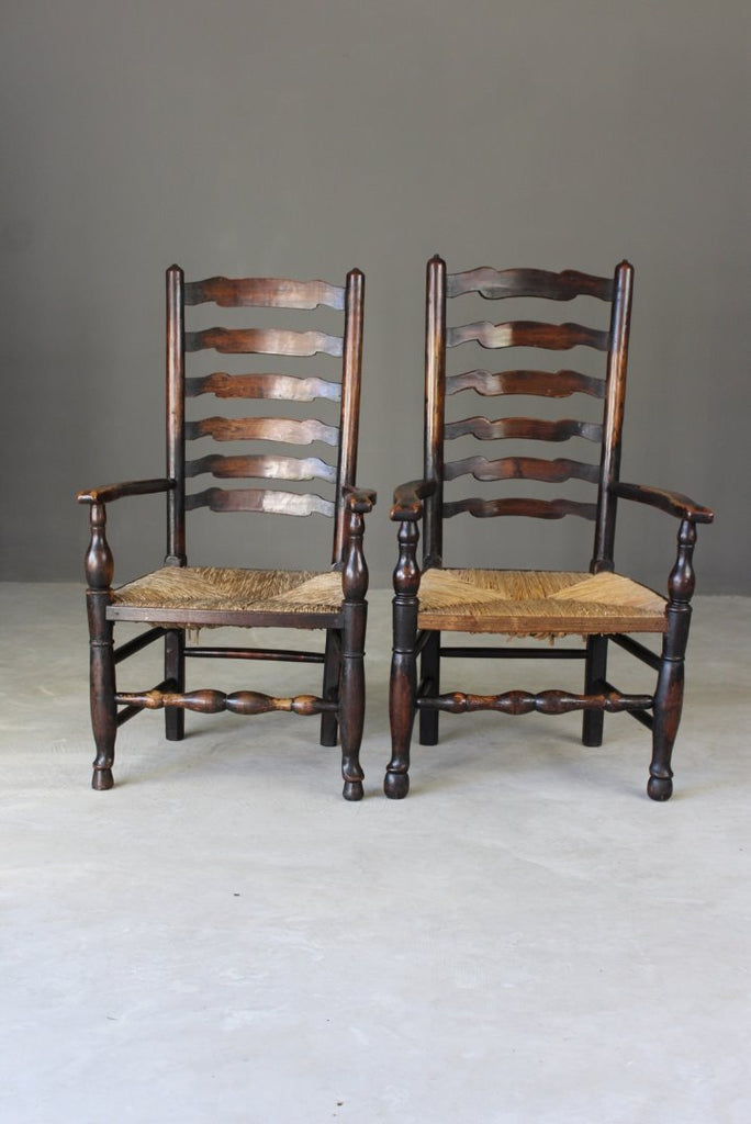 Pair Antique Elm Ladderback Carver Chairs
