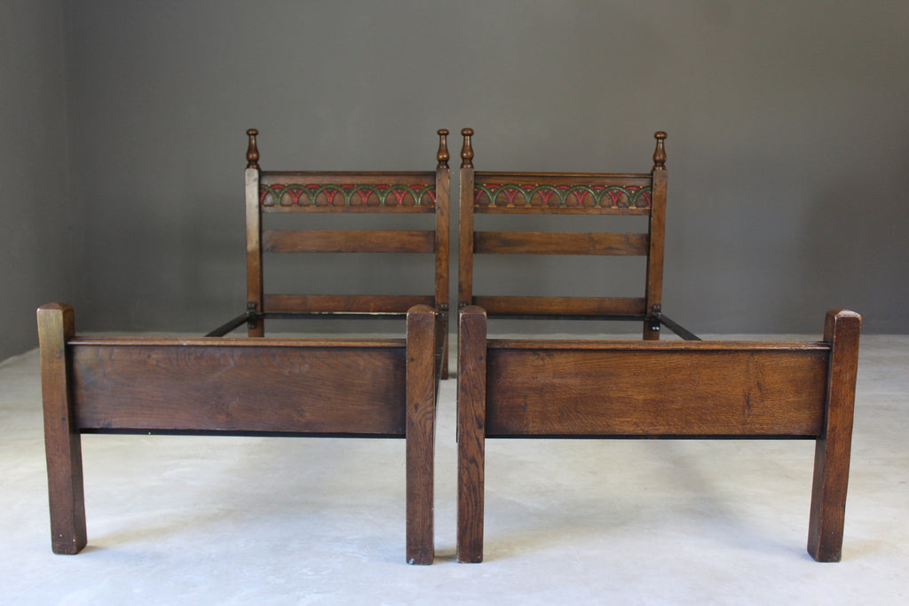 Pair Antique Single Oak Beds