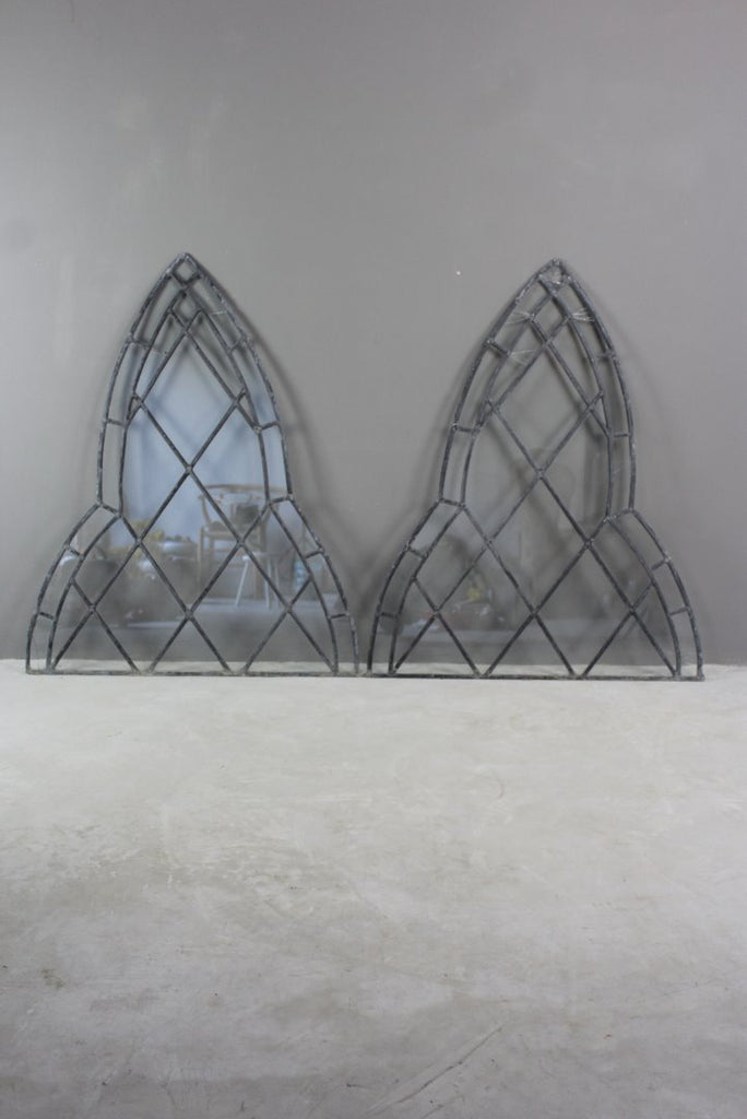 Pair Gothic Lead Glazed Windows