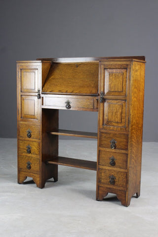 1930s Golden Oak Bureau - Kernow Furniture