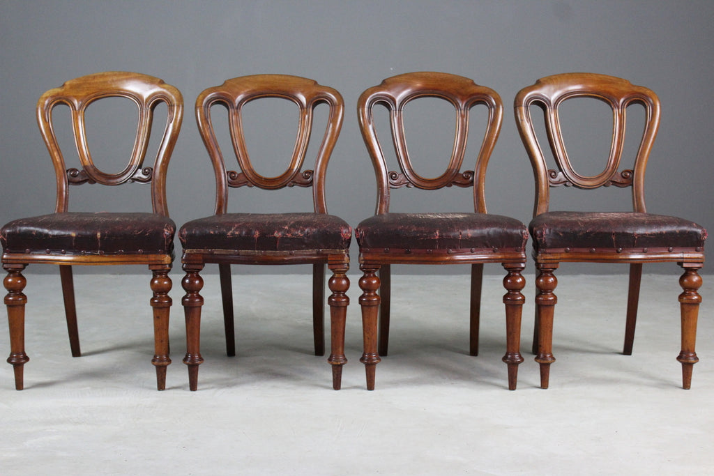 Victorian Walnut Dining Chairs - Kernow Furniture