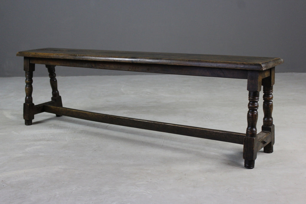Antique Rustic Oak Long Bench - vintage retro and antique furniture