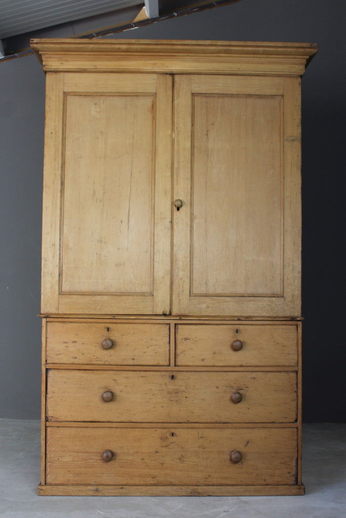 Antique Pine Linen Press - vintage retro and antique furniture