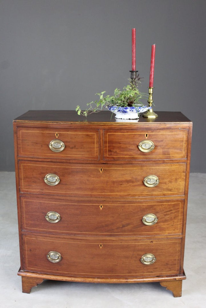 Antique Bow Front Chest of Drawers - Kernow Furniture