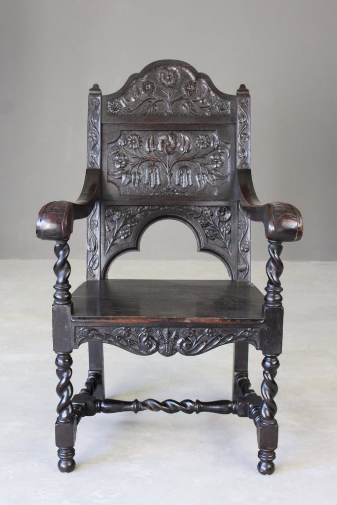 Carved Oak Wainscot Chair - Kernow Furniture
