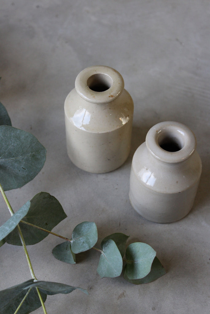 Pair Stoneware Ink Bottles