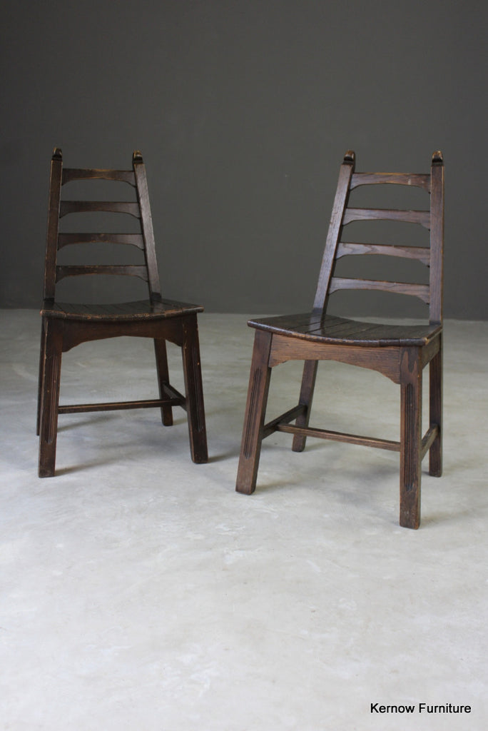 Pair Mid 20th Century Ladderback Chairs