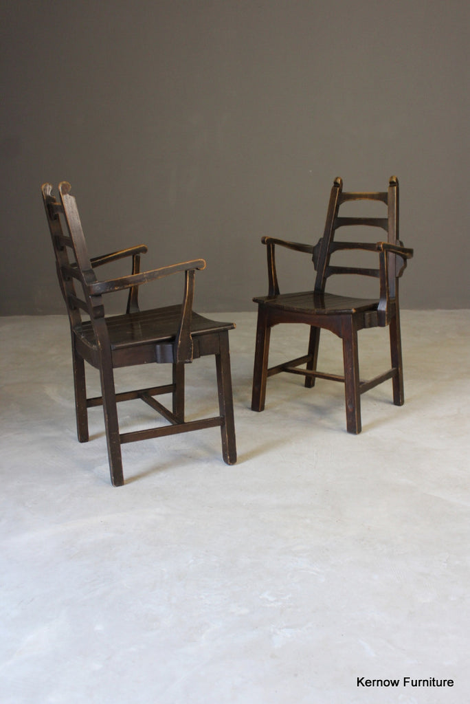 4 Mid 20th Century Ladderback Dining Chairs - vintage retro and antique furniture